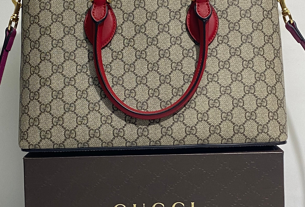 Gucci GG Supreme Small Tote, Red/Pink Leather