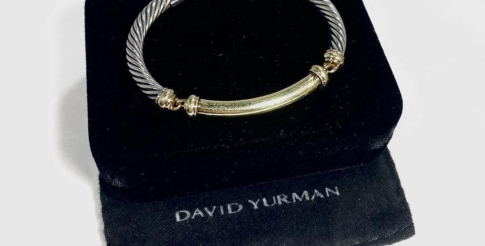 David Yurman Sterling & 14k Gold Metro Bracelet