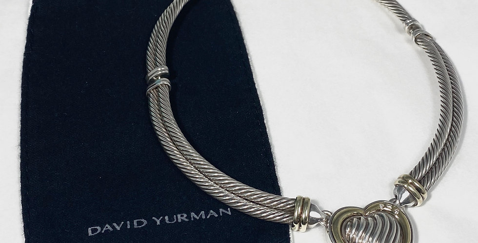 David Yurman Sterling & 18K Diamond Heart Double Cable Hinged Necklace