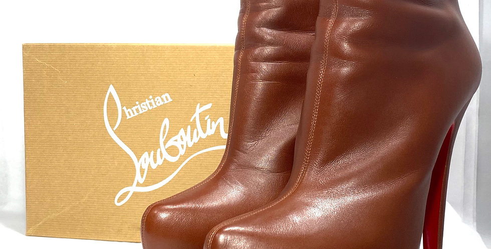 Christian Louboutin Brown Daffodile160 Leather Ankle Boots