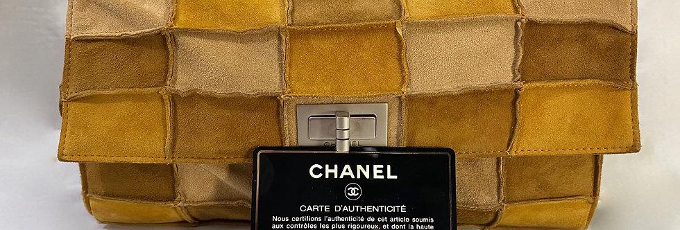 Chanel Classic Flap 2.55 Reissue Patchwork Medium Tricolor Suede Shoulder Bag