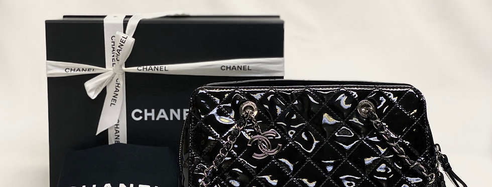 Chanel Black Quilted Patent Leather CC Charm Bag