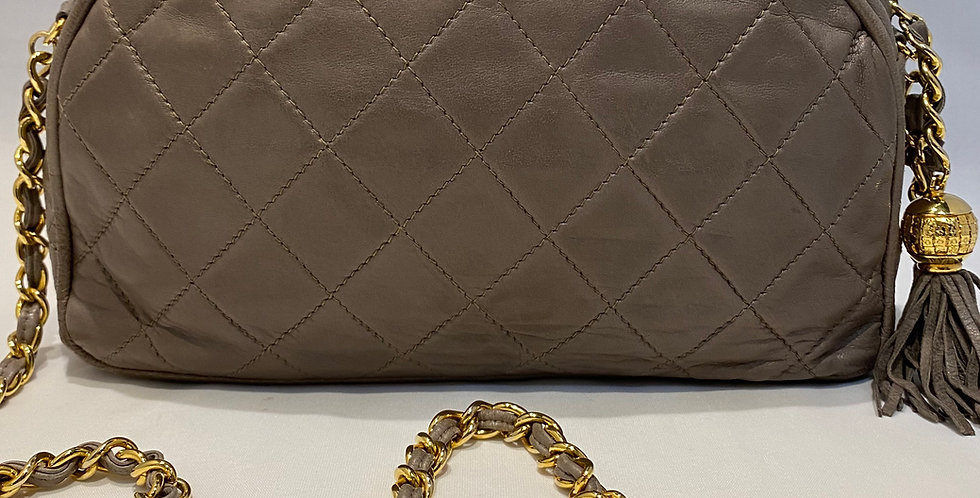 Vintage Chanel Taupe Quilted Lambskin Tassel Bag