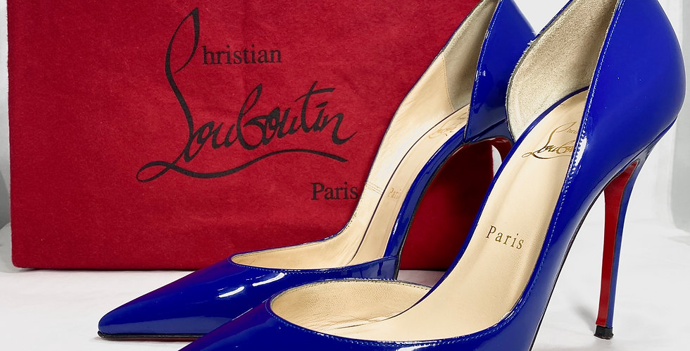 Christian Louboutin Iriza Blue Patent Leather Pumps