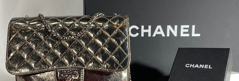 Chanel Quilted Metallic Leather 3 Accordion Medium Flap Bag