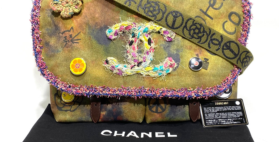 "Chanel Graffiti ""On The Pavement"" Bag Limited Edition Canvas Messenger Bag"
