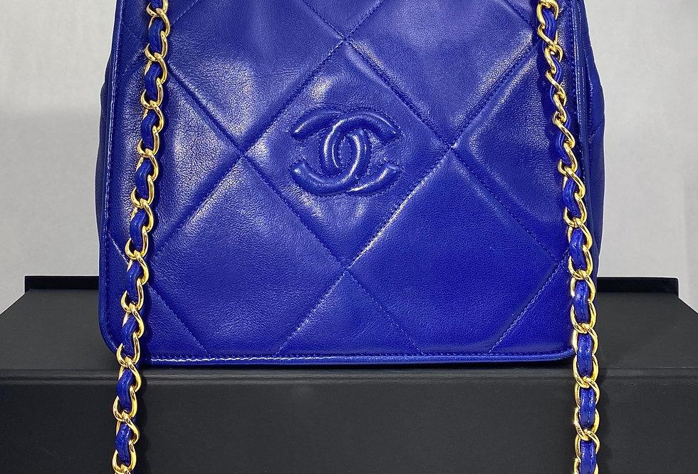 RARE Chanel Vintage Electric Blue Lambskin Square Flap Crossbody Shoulder Bag
