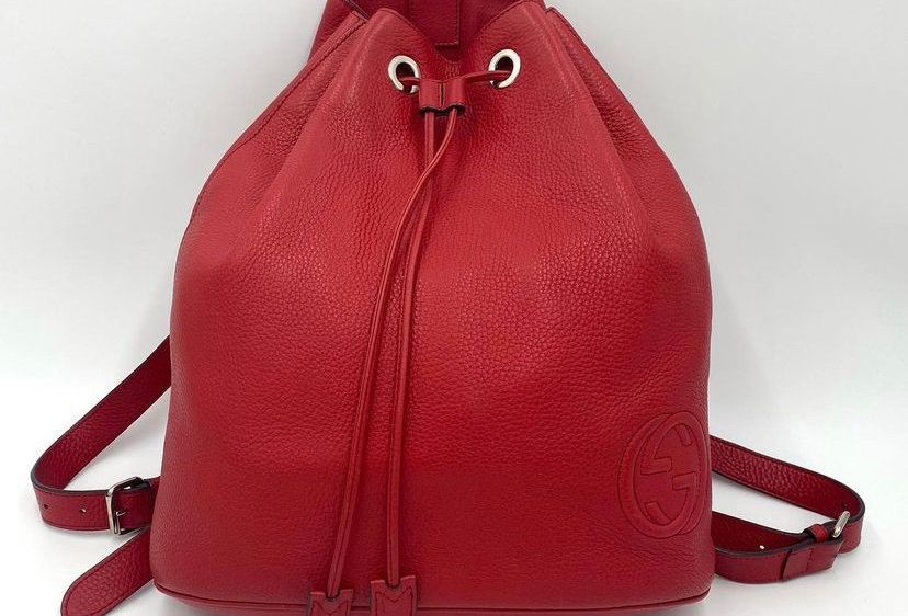 Gucci Soho Drawstring Red Leather Backpack