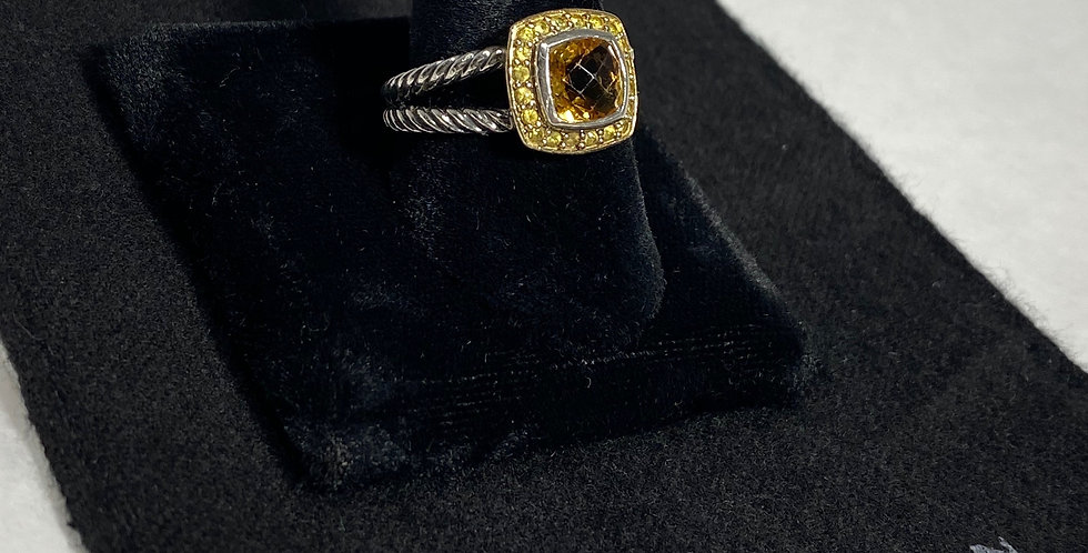 David Yurman 18K & Sterling Citrine Petite Albion Ring