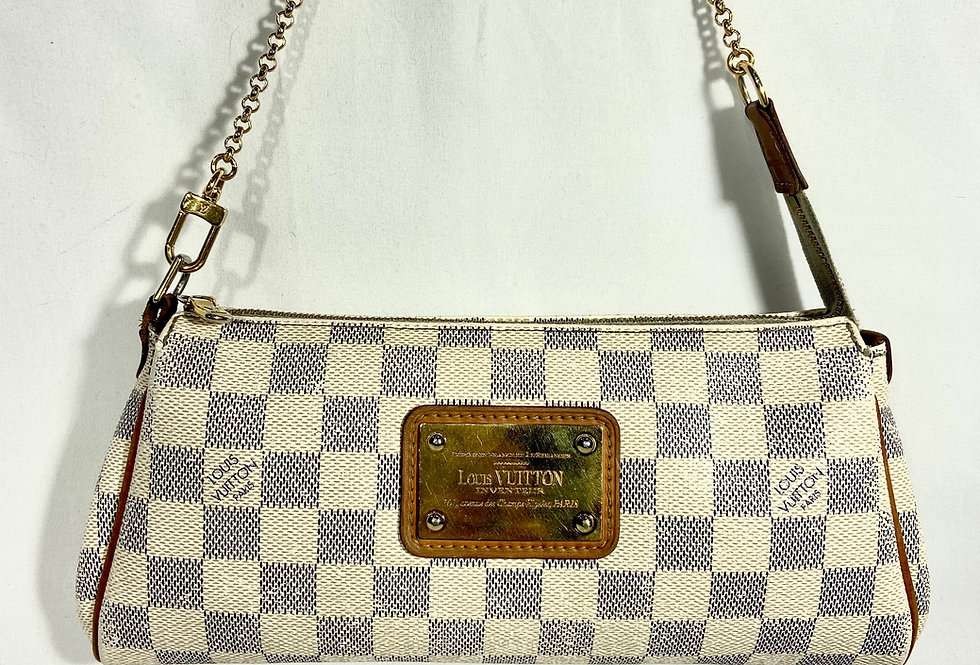 Louis Vuitton Eva Clutch Damier Azur With Crossbody Strap