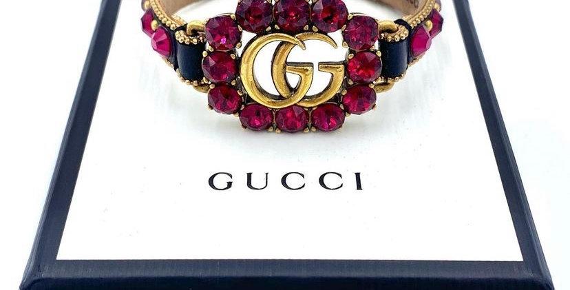 Gucci GG Calfskin Crystal Bracelet