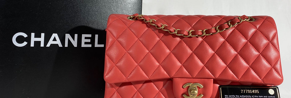 Chanel Red Quilted Lambskin Medium Classic Double Flap Bag