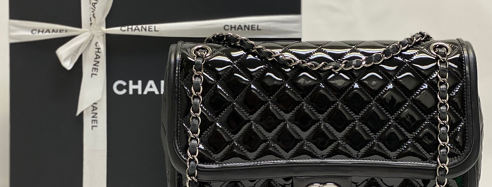 Chanel Black Patent and Quilted Lambskin Classic Twist Jumbo Flap Bag