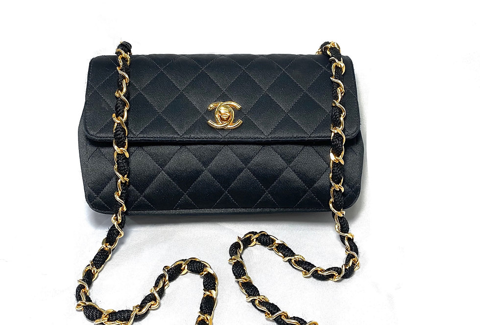 Chanel Vintage Mini Black Quilted Satin Single Flap Evening Bag