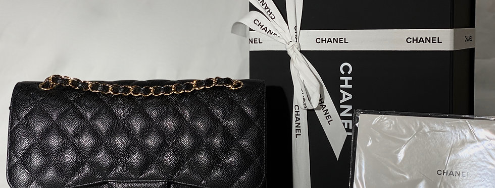Chanel 2019 Black Caviar Classic Jumbo Bag Gold Hardware BNIB