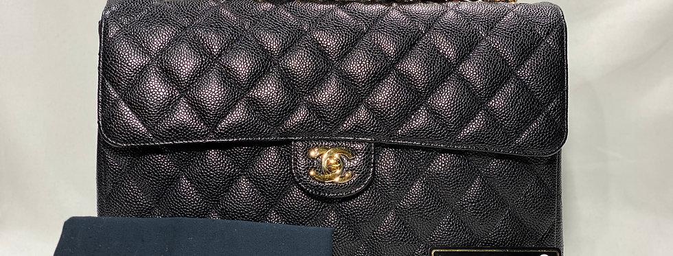 Chanel Jumbo Black Caviar Single Flap Gold Hardware