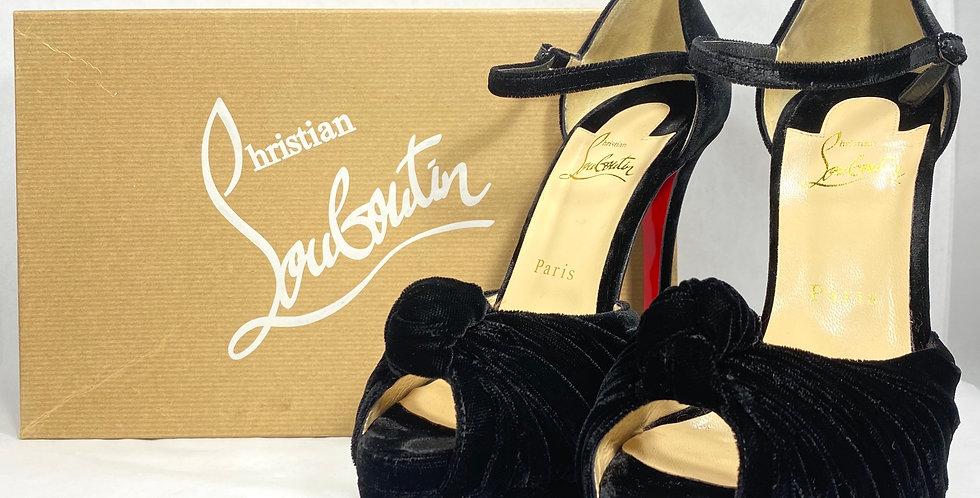 Christian Louboutin Black Marchavekel Velvet Knot Platform Sandals