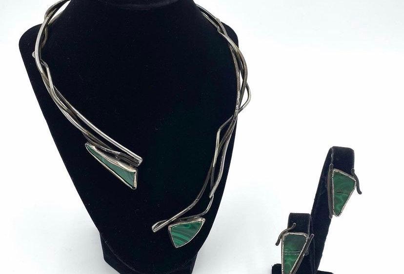 Sterling Malachite Art Necklace/Earrings Set