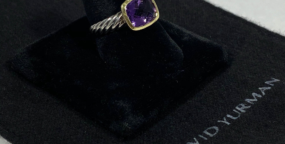 David Yurman 18K & Sterling Amythest Noblesse Ring