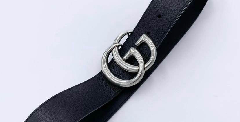 Gucci Wide Leather Silver Buckle Belt