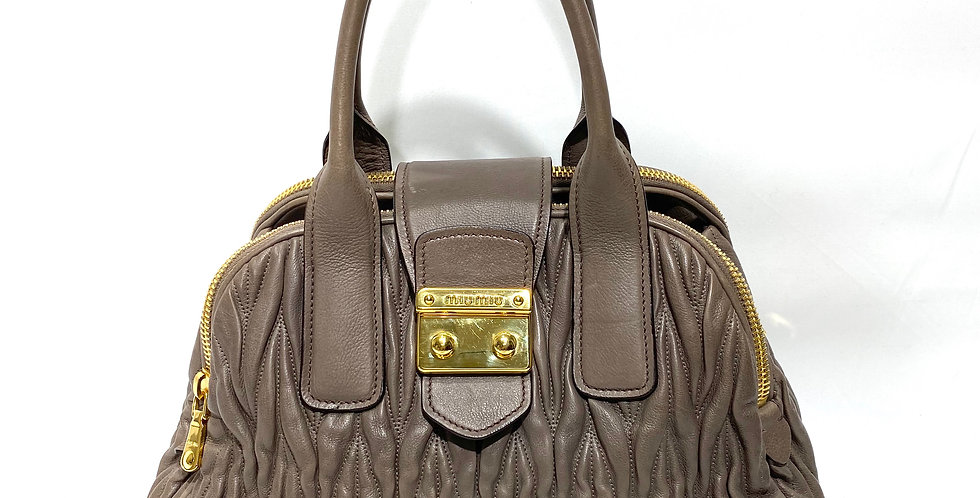 Miu Miu Matelasse Medium Bowler Polished Gold Har Taupe Napa Leather Lamb Tote