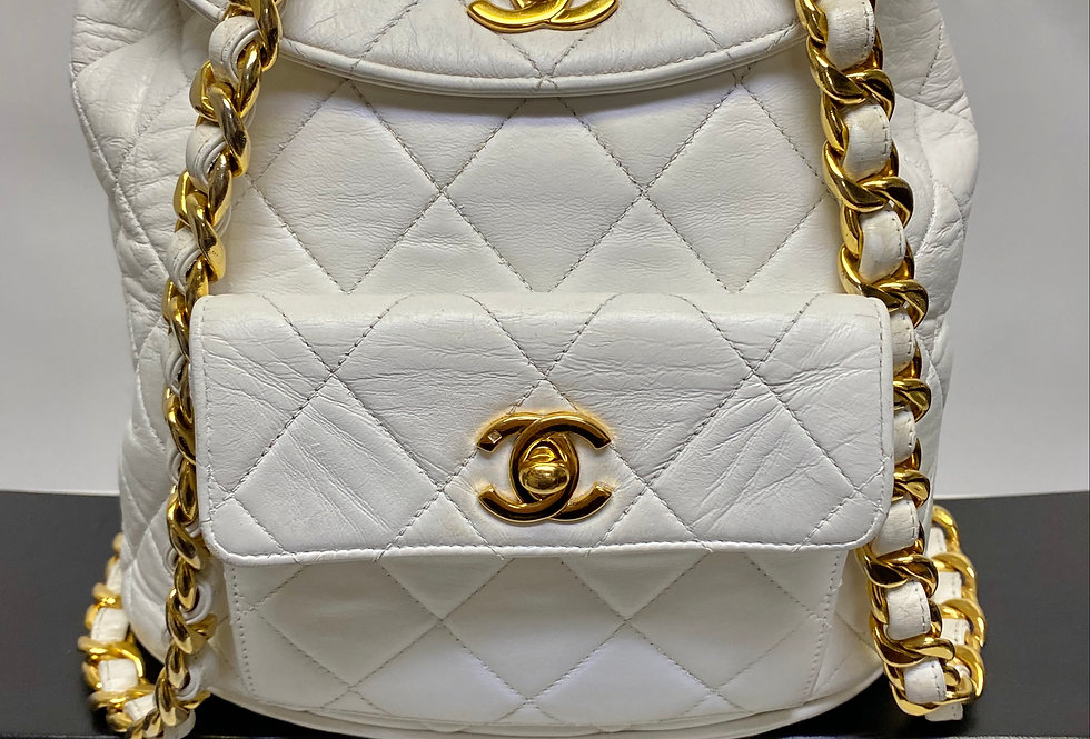 Chanel White Quilted Lambskin Backpack