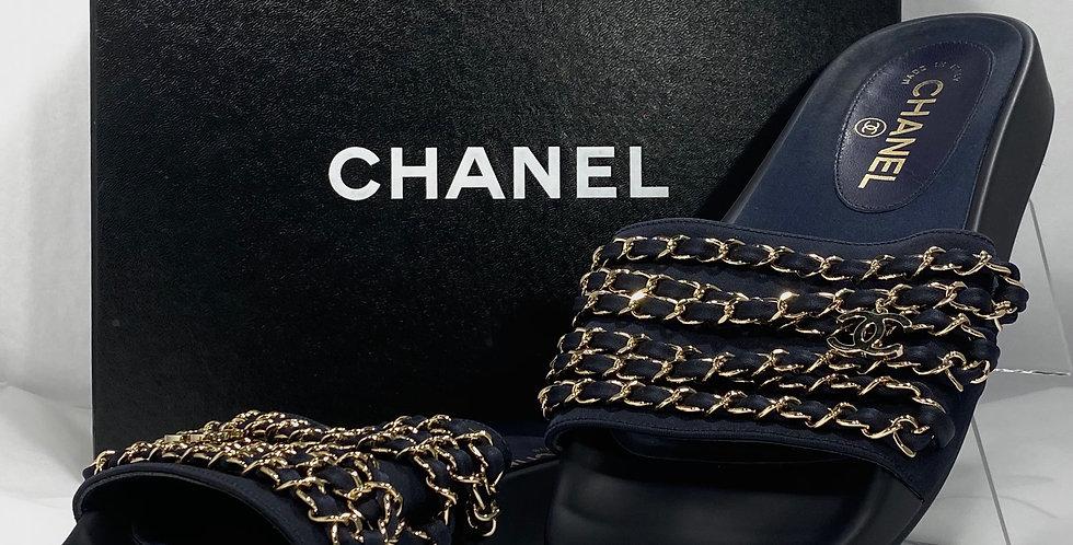 Chanel Navy Tropiconic Cuba Chain CC Mules/Slides