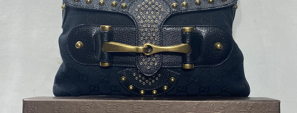 Gucci Black Monogram Studded Pelham Runway Flap Bag