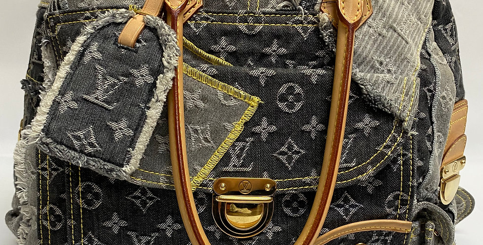 Louis Vuitton Black Denim Patchwork Bowly Bag