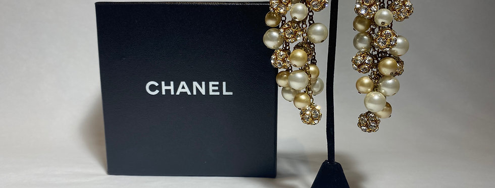 RARE Chanel Vintage Cluster crystal and Pearl Ball dangling earrings