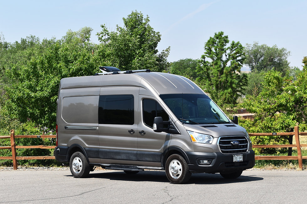 """Ford Transit Crew Van high roof 148"""" wheelbase custom van conversion by Out There Vans."""