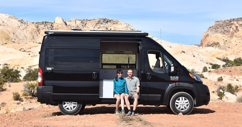 "Zach and Hannah, owners of Out There Vans LLC, with custom RAM Promaster 136"" van conversion"