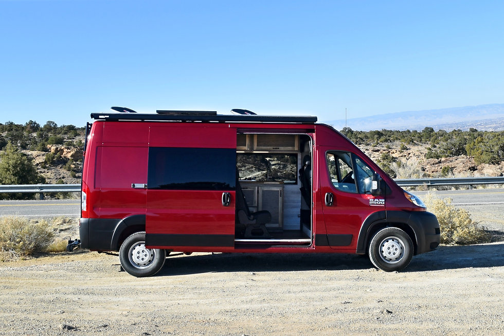 """Ram Promaster high roof 159"""" wheelbase custom van conversion by Out There Vans."""