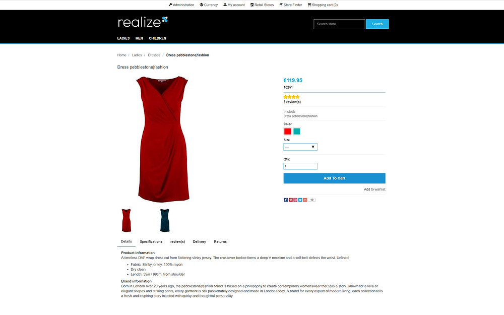 B2C fashion eCommerce product page