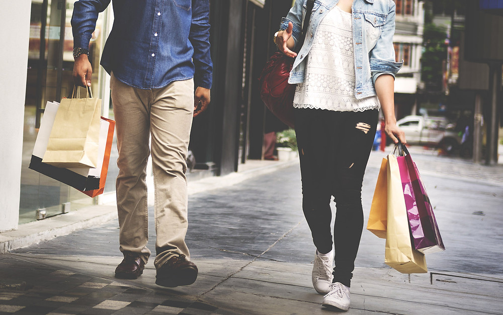young people shopping bags