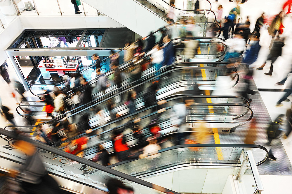 crowded shopping center