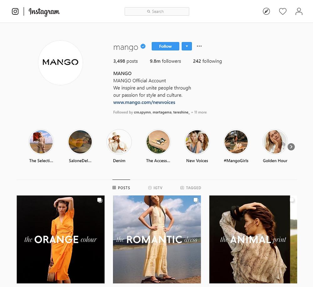 Mango Instagram profile