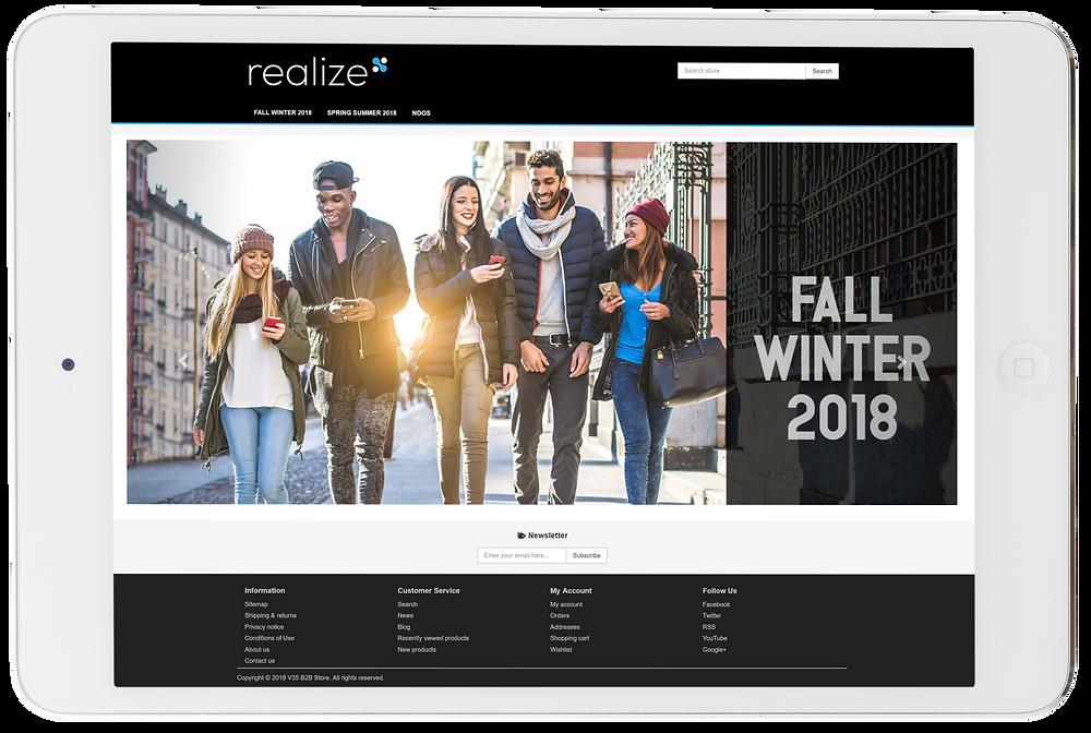 B2B fashion ecommerce homepage