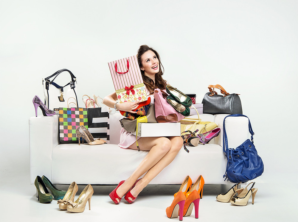 woman with fashion shopping bags