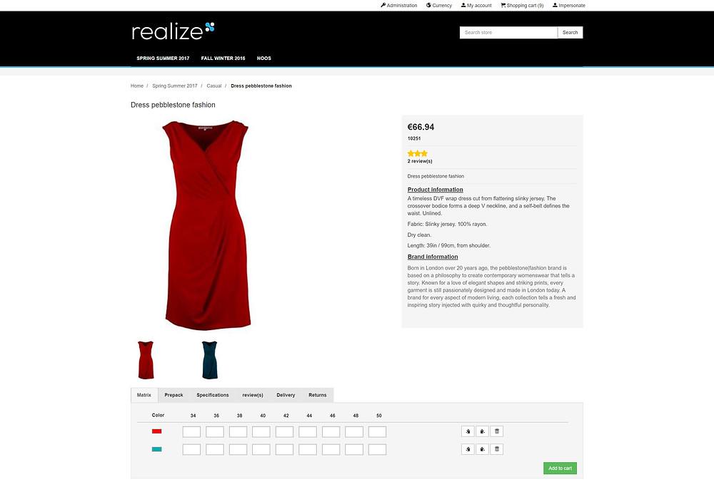 B2B fashion eCommerce product page