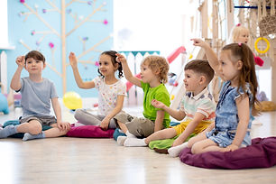 Preschool children play on speech therap