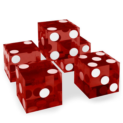 5x RED precision dice - 19mm