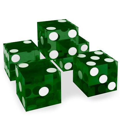 5x GREEN precision dice - 19mm