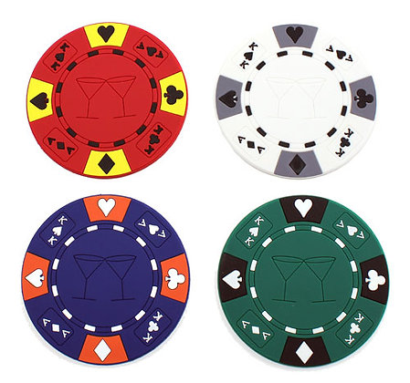 Poker chip rubber bar coaster set - 4pc