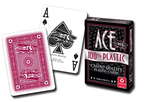 Ace 100% Plastic Poker/Regular - Red