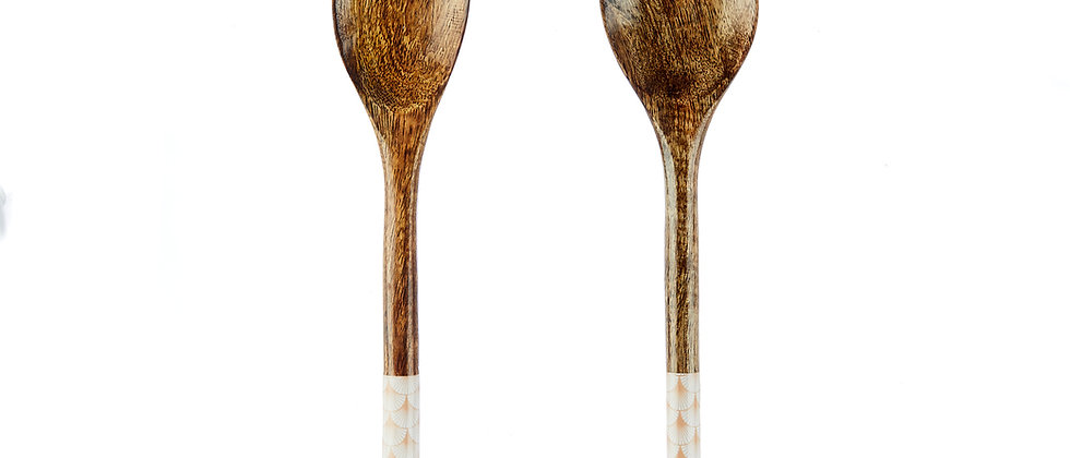 Couverts à salade en bois de manguier - Fan Pastel