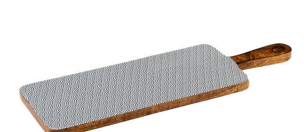 Planche de service en bois de manguier 15x50cm - Wave Dark