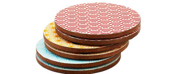Sous-verre en bois de manguier - 6 pièces - Collection Color