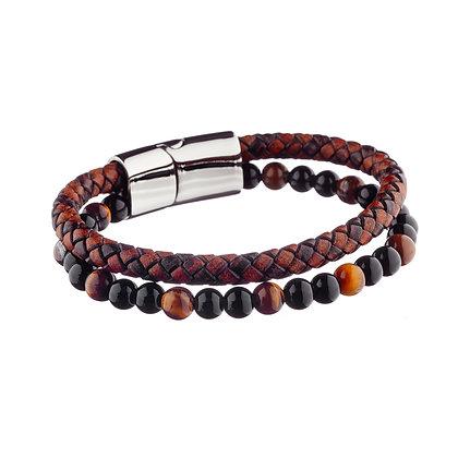 Bracelet Vanves - cuir et pierres naturelles