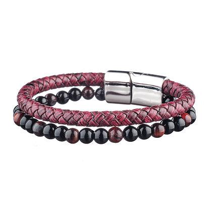 Bracelet Ternes - cuir et pierres naturelles